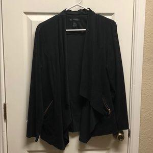 INC suede black cardigan